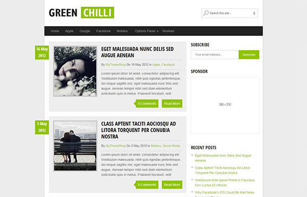 GreenChilli Free WordPress Theme